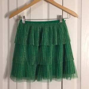 Hanna Anderson 3 tier pleated skirt Green Sz 140